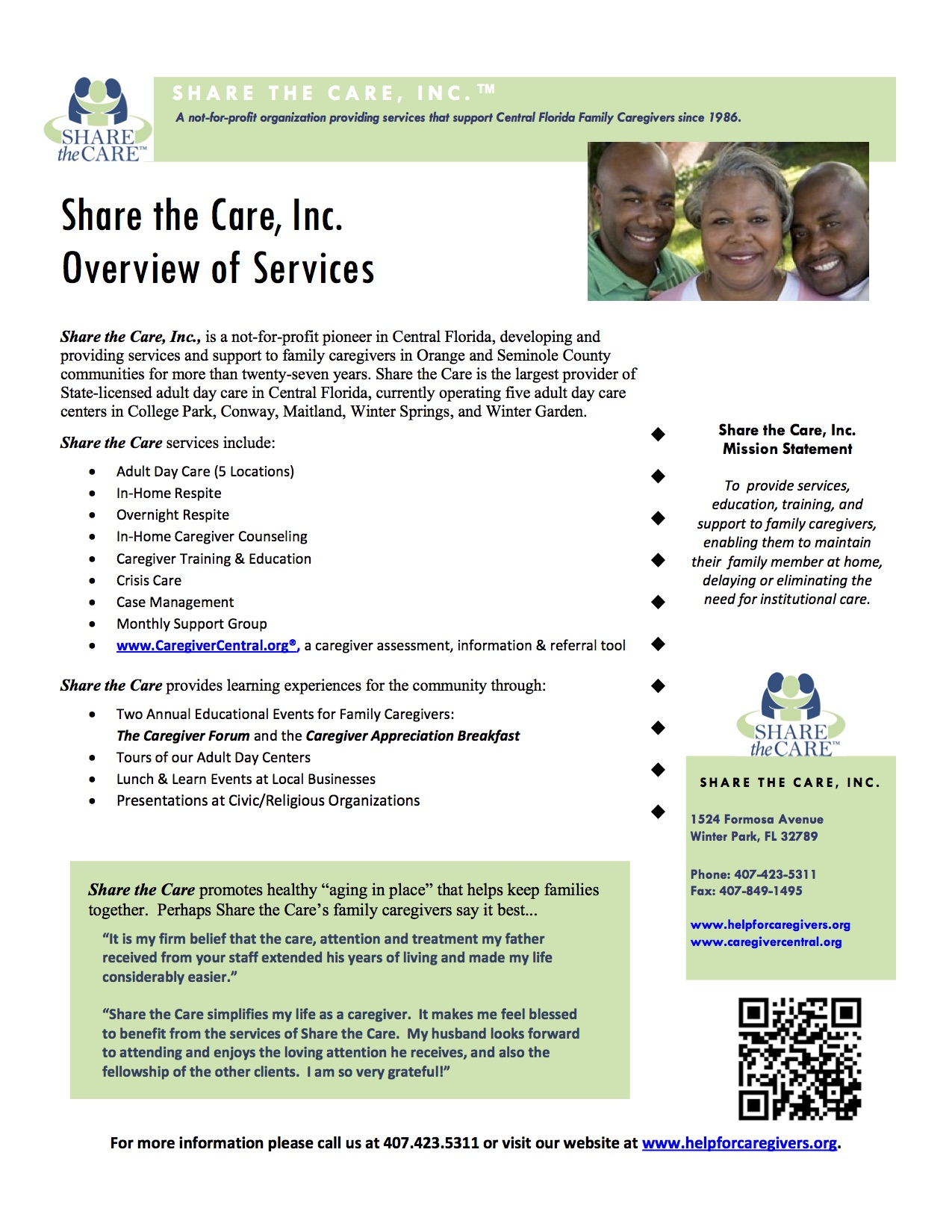 orlando home care caregiver central and share the care click the following brochure to the left for a summary of our services